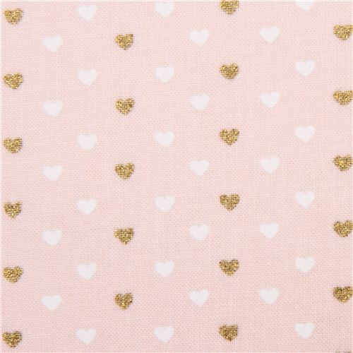 light peach fabric with mini white gold glitter heart by Michael Miller USA