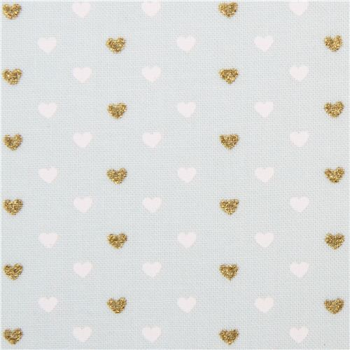 pale green fabric with mini white gold glitter heart by Michael Miller USA