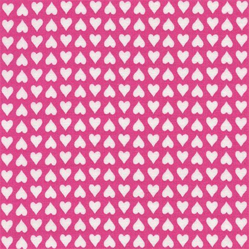 pink small white heart fabric by Timeless Treasures