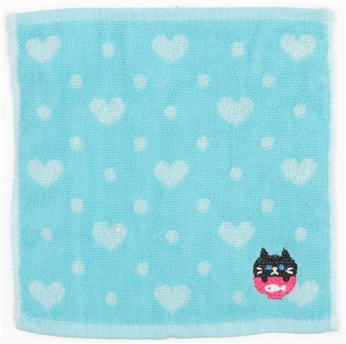 blue light blue heart cute cat animal towel from Japan
