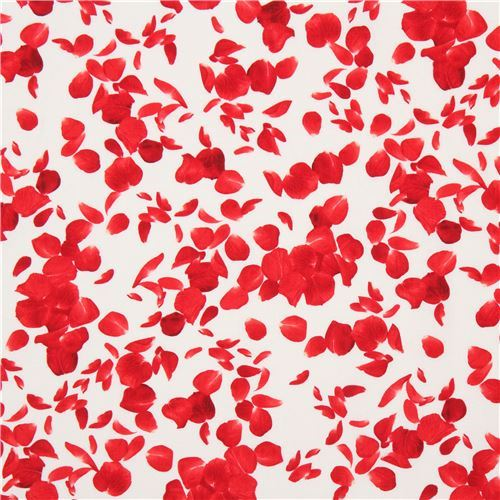 cream fabric with red rose flower petal by Timeless Treasures
