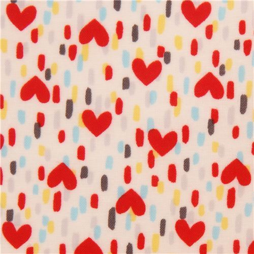 off-white with red heart colorful dash laminate fabric by Lecien