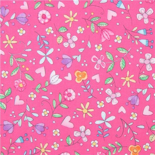 pink Michael Miller fabric cute colorful flower Bitty Bloom