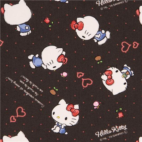 dark grey Hello Kitty small flower butterfly mini dot oxford fabric