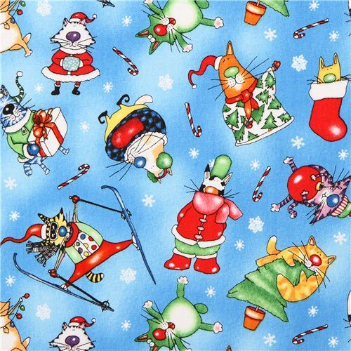 blue ski cat Christmas animal fabric Elizabeth's Studio from the USA