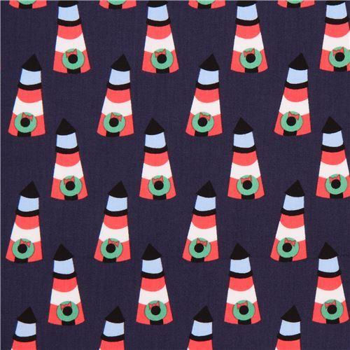 navy blue cute lighthouse Christmas wreath fabric by Dear Stella USA