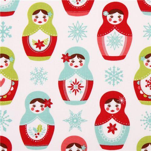 white Riley Blake matryoshka Christmas fabric with flowers USA