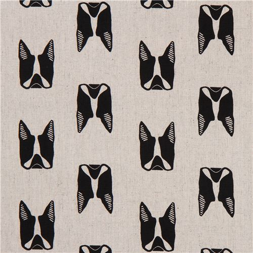 natural color with black dog Canvas fabric Andover USA Maker Maker