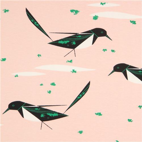 peach with bird animal birch knit organic fabric USA