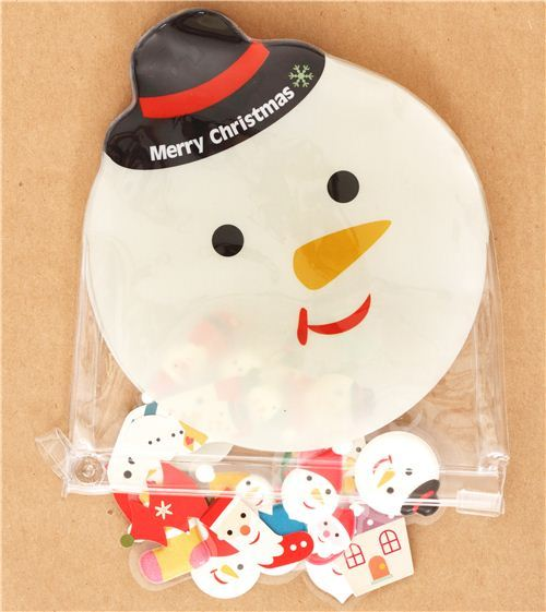 Christmas sponge sticker sack with snowman pouch