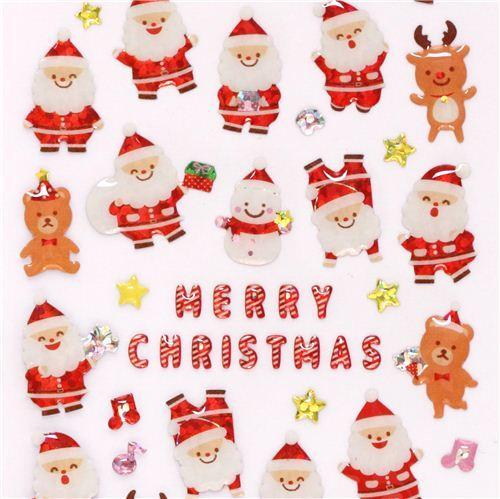cute Santa Claus teddy bear reindeer Christmas glitter stickers from Japan