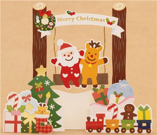 cute toy train swing Christmas tree glitter letter 3D pop-up card from Japan