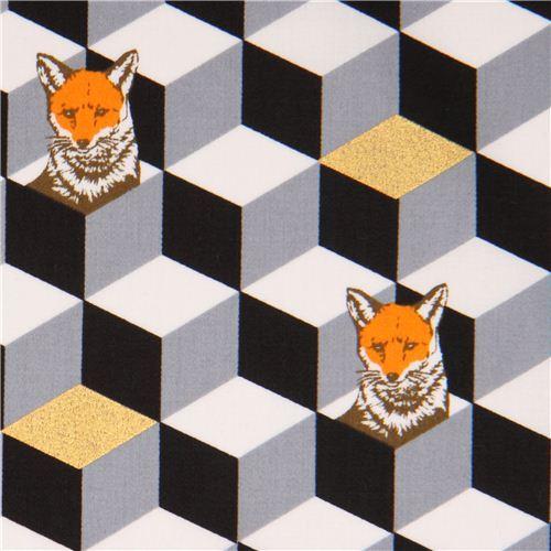 black and grey diamond dice fox cotton sateen glitter laminate fabric Kokka