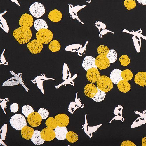 black soaring echino Decoro cotton sateen laminate fabric