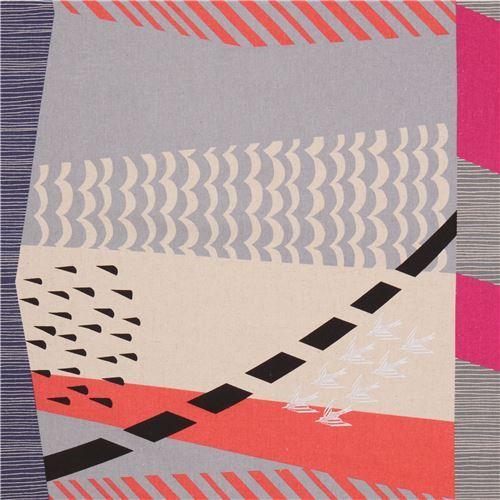 echino grey orange natural color canvas laminate fabric bird from Japan