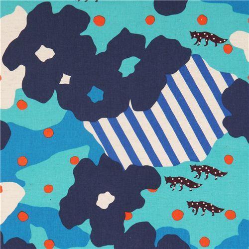 extra wide blue echino poplin fabric fox dot blossom