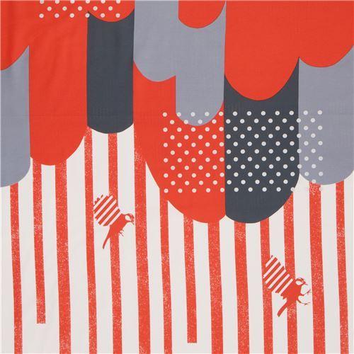 orange grey cloud stripes border glitter laminate fabric Kokka