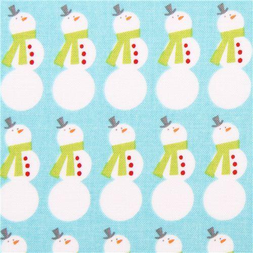 Christmas Basics Riley Blake snowman Xmas fabric blue