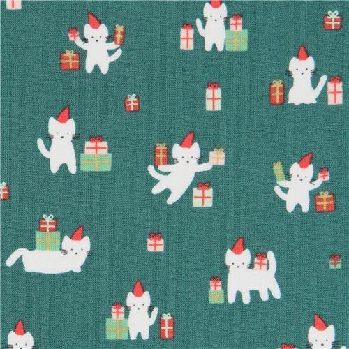 dark green fabric cute cat Christmas present by Dear Stella USA