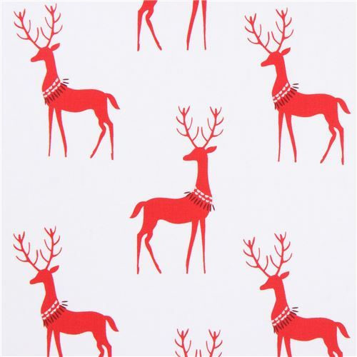 white Michael Miller fabric red animal Christmas Reindeer