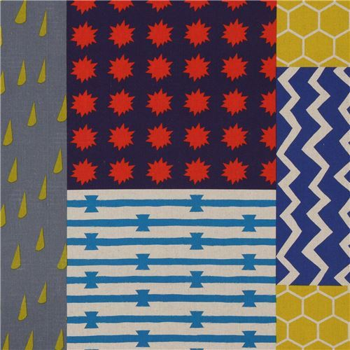 echino canvas fabric dark blue grey stripe rectangle shape Element
