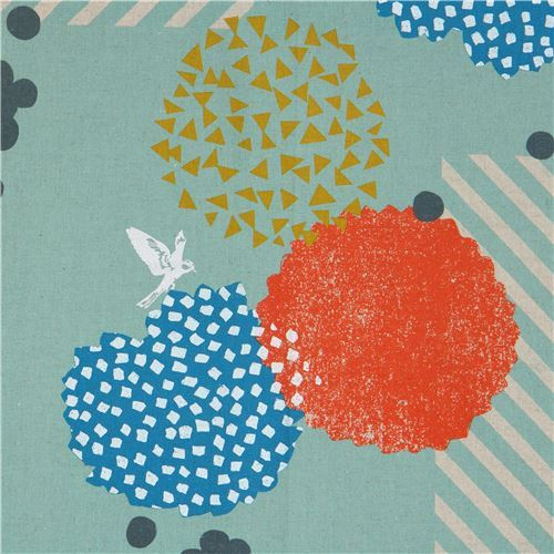 sea green echino canvas fabric with shape silver metallic Blossom