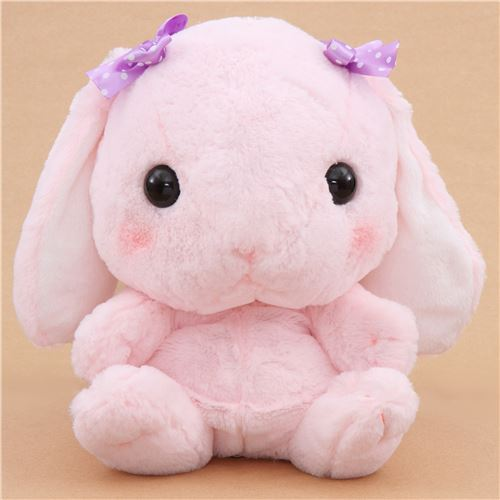 big pink bunny rabbit Poteusa Loppy backpack plush from Japan