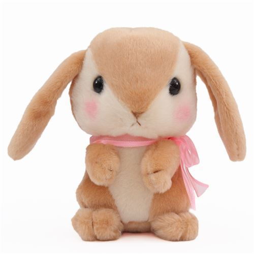 brown light cream bunny rabbit Poteusa Loppy plush toy from Japan