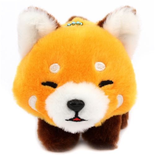 cute orange Red-Panda eyes closed plush toy Lesser Panda Chan from Japan