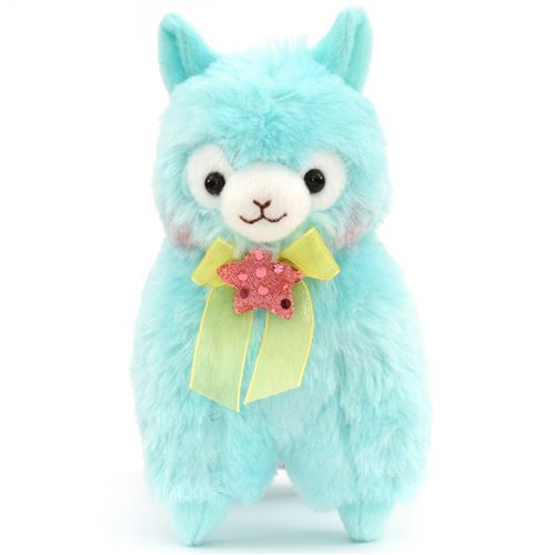 cute turquoise alpaca yellow bow pink star plush toy from Japan