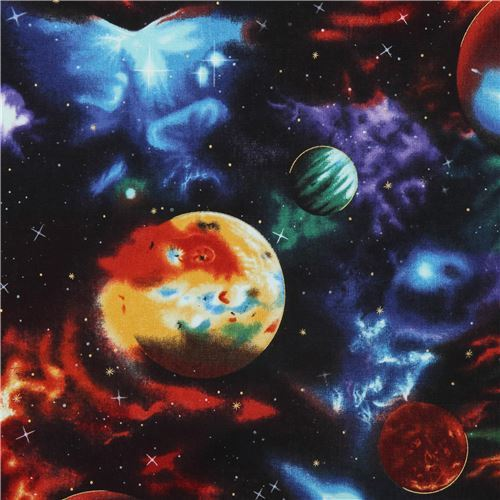 black Robert Kaufman space colorful planet gold metallic fabric Stargazers 5