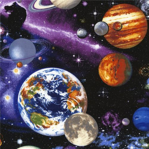 black colorful universe space fabric with planets by Timeless Treasure