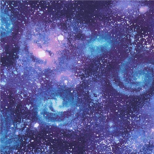 galaxy space blue purple Robert Kaufman Laguna Jersey knit fabric