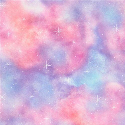star outer space sky Robert Kaufman fabric blue purple Morningmoon Fairies