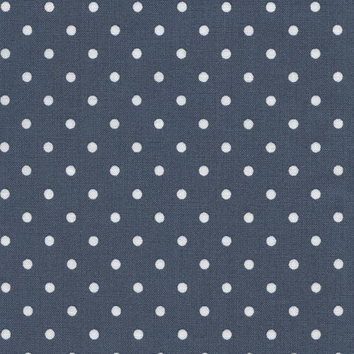 denim blue color fabric with small white polka dot by Timeless Treasures
