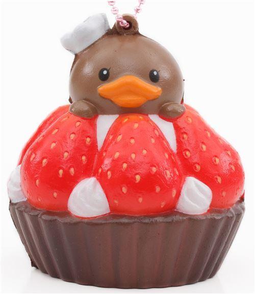 cute brown strawberry tart squishy charm cellphone charm kawaii