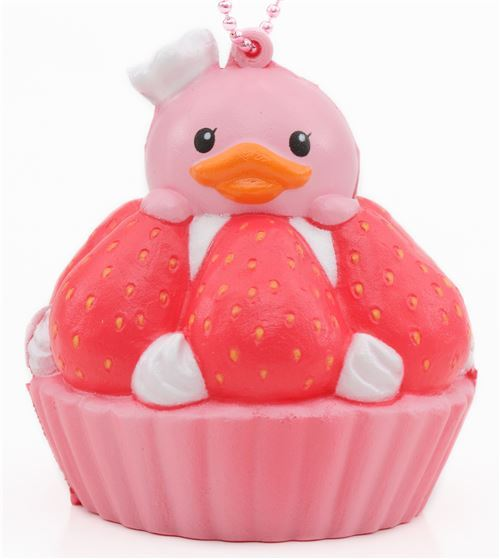 cute pink strawberry tart squishy charm cellphone charm kawaii