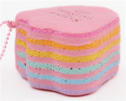pink duck foot shape rainbow cake squishy charm cellphone charm kawaii