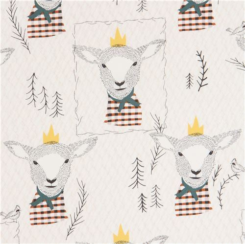 light beige fabric with lamb sheep animal by Art Gallery Fabrics