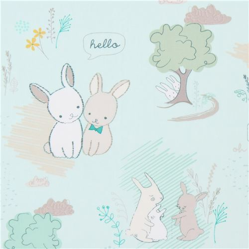 light mint green fabric with bunny rabbit animal by Art Gallery Fabrics