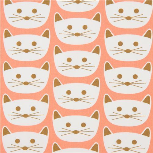 peach fabric with cat animal by Art Gallery Fabrics