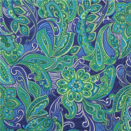 green colorful Robert Kaufman beautiful flower leaf fabric