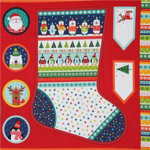 fabric with big colorful stocking design makower uk Novelty Xmas