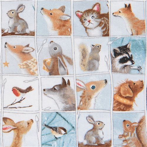 fabric with deer owl bunny rabbit animal square Quilting Treasures