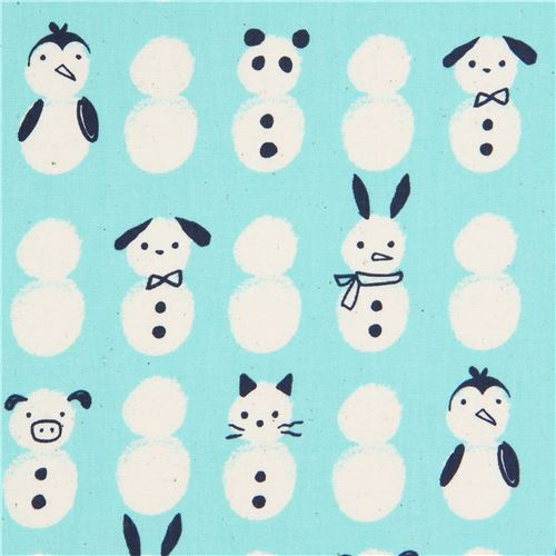 turquoise with snowman animal fabric by Cotton and Steel
