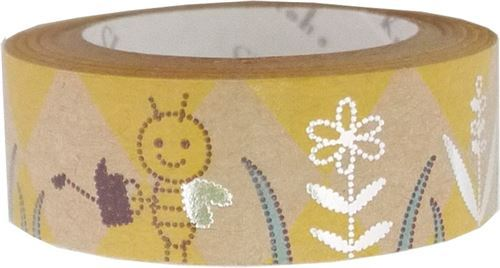 brown bee flower silver metallic craft Tape deco tape Shinzi Katoh Japan