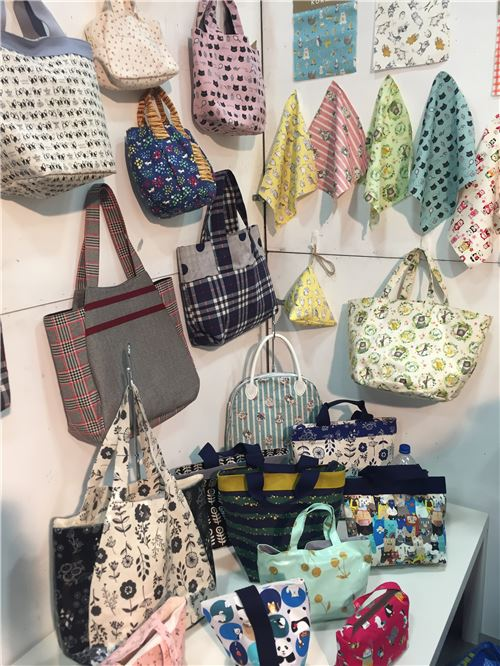 Oodles of bags made from Kokka fabrics