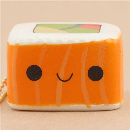 scented orange and white sushi square food squishy