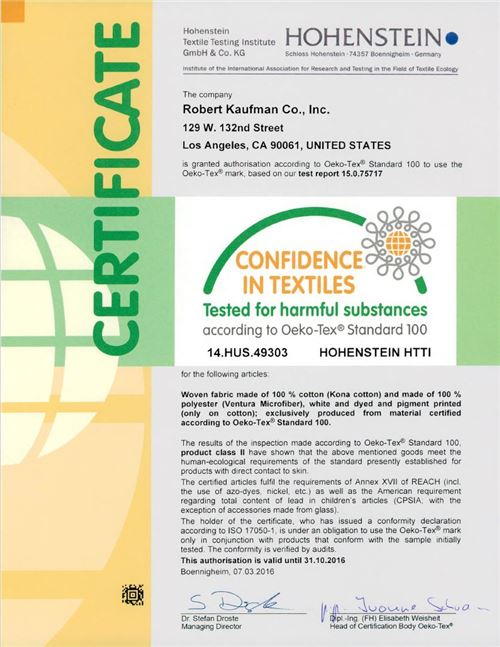 Robert Kaufman's Kona Cotton Solids Oeko-tex Certification