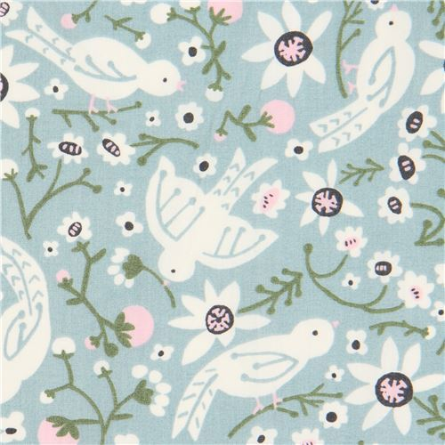 blue with bird animal flower organic poplin fabric from the USA